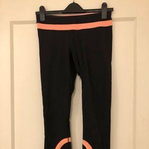 Lululemon Running Crops - Black and Orange